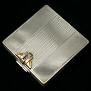 Art Deco Gorham Sterling Silver 14k Gold Sapphires Jeweled Compact Purse Mirror