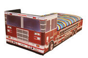 Boys Bed Fire Engine Kids Childrens With Mattress Option 3ft Single Faux Leather