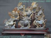 Chinese 100 Natural Agate Carved Fengshui Pentium Animal Eight Horse Statue Set