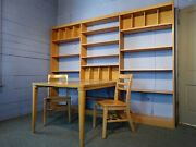 Mid Century Modern Solid Maple Modular Library Shelving Unit Table And 2 Chairs
