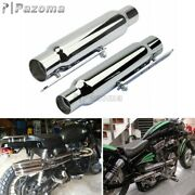 2x Universal Motorcycle Shorty Exhaust Pipe Muffler 12 Long Chrome For Harley