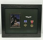 Military Shadowbox Display Frame 19 3/4andrdquo X 16 1/2andrdquo Army Pilot Medals Photograph