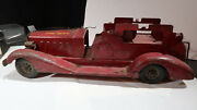 Early Marx Fire Department Fire Truck Pressed Steel Battery Operated