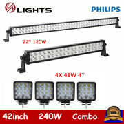 42inch 240w Led Lights+22in 120w Bars Offroad Driving Ute Atv For Jeep +4x4 18w