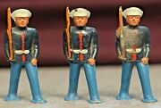 Vintage Barclay Lead Marine Podfoot Dimestore Soldiers Lot Of 3 Ca 1950s