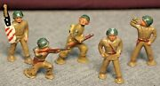 Vintage Barclay Lead Infantry Podfoot Dimestore Soldiers Lot Of 5 Ca 1950s