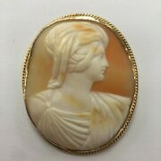 19th Century Diamond Large Finely Carved Shell Cameo 14k White Gold Pin Pendant
