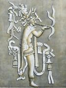Mexican Pre-columbian1805 Antique Print, Stone Carved Mayan Priest Smoking Pipe.