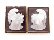 14k Yellow Gold Carved Mother Pearl Cameo Cufflinks Roman Solider