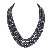 3 Row 1710.10 Carat 100 Natural Faceted Blue Sapphire Gemstone Beaded Necklace
