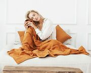 Weighted Blanket 100 Linen Heavy Blanket For Anxiety Stress Relief Insomnia