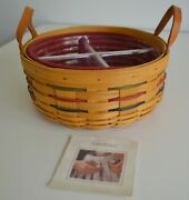 Longaberger, Woven, Traditional, Darning Basket, Large Berry Fabric, Protective