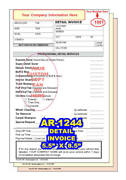Custom Printed Automotive Detail Invoice 2 Or 3 Part Carbonless Forms