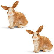 Two2 Pcs New Schleich 13827 North America Bunny Rabbits Hares Mini Toy Figures