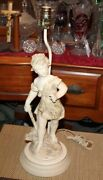 Antique Figural Table Lamp Boy Holding Walking Stick Victorian Style