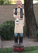 6and039 Saloonkeeper Cigar Store Indian Sculpture 6 Ft Hand Carved By Frank Gallagher