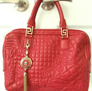 Auth Versace Red Handbag With Tag And Dust Bag