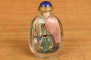 Unique Chinese Natural Crystal Guangong Hero Figure Snuff Bottle
