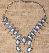 Vintage Navajo Sterling Silver Mother Of Pearl Squash Blossom Necklace C20s/30s