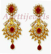 1.51ct Diamond Ruby 14k Yellow Gold Christmas Bridal Earrings Shop Early And Save