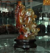 China Fengshui Natural Agate Onyx Carved Lotus Lucky Animal Fish Goldfish Statue