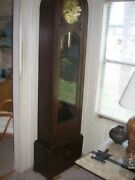 Antique Oak Grandfather Clock 77 Tall Chimes Hour And Half Hour.