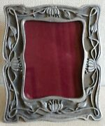 Vintage Metzke Pewter Picture Frame Art Nouveau Flowers 3 X 4 Pic Lovely 1979