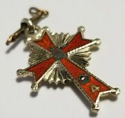 4th Degree 4th Knights Of Columbus 10k Gold And Enamel Cross Pendant Fob Charm