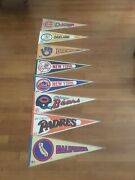 """Lot Of 8 Vintage Sports 30"""" Pennants In Protective Sleeves + 2 Extra Game Room"""