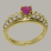 Solid 18k Yellow Gold Natural Ruby And Diamond Womens Band Ring - Sizes J To Z