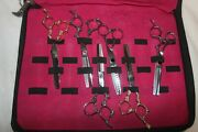 Lot Of Six Seraphim Made In Japan Thinning Scissors W/carrying Case