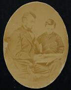 6x8 Large Abraham Lincoln And Tad Antique Civil War Albumen Oval Cabinet Photo