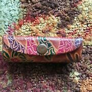 Vintage Genuine Leather Made In India Lipstick Case Embossed Dyed Giraffes