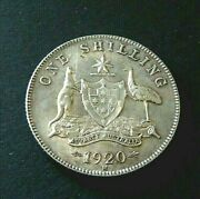 1920-m Australia 1/- One Shilling Coin - About Unc - George V - Cv 1200 - 389