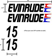 4 Pack Evinrude Boat Motor And Hp Black Red And Blue 16 Decals Graphics.
