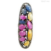 Multi Sapphire Pave Diamond Long Ring 925 Sterling Silver Antique Look Jewelry