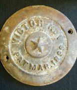 Antique 1899 Underwater Shipwreck Salvage Victor No.1 Cast Iron Cap From Ship