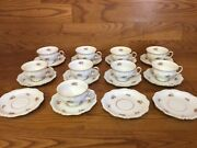 Eschenbach Germany Moss Rose La Reine Meiss Cups And Saucers 9 Sets Excellent