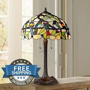 Victorian Style Antiques Stained Glass Birds Lamp Shade Table Nightstand