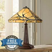 Victorian Style Antiques Stained Glass Budding Branch Lamp Shade Table