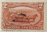 286p4 1898 2 Cent Farm Stamp Red Used.