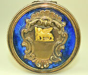 Vtg 800 Silver Enamel And 18k Gold Winged Lion 2.25 Hinged Trinket Pill Box Italy