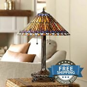 Victorian Style Antiques Stained Glass Peacock Accent Lamp Shade Table