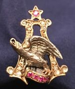 1880andrsquos Anheuser Busch Budweiser Brewmaster 14k Sterling Mine Diamond Ruby Pin