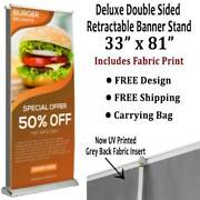 Retractable Roll Up Banner Stand - Dlx Ds 33x 81 - Includes Fabric Print