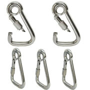 Carabiner Spring Snap Hook W/ Eyelet And Screw Nut Stainless Steel 5pc 3/8