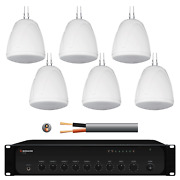 Inta Audio Warehouse Music System With 6x 32w Pendant Speakers White