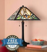 Victorian Style Antiques Stained Glass Art Accent Lamp Shade Table Home