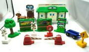 2003 Mattel Fisher Price Geotrax Train Station Pier Tree Road Signs Lot Of 13