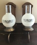 Vtg Colonial American Eagle Sconce Light Fixture Mid Century Glass Globe Pair